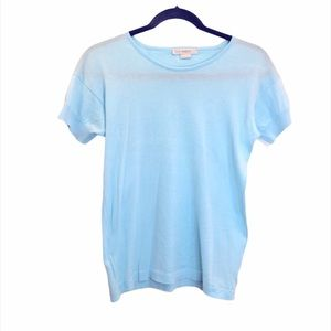John Smedley Baby Blue Cotton Tee M